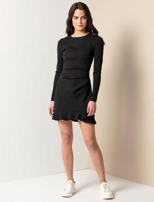 Ever New Annie Rib Long Sleeve Frill Dress