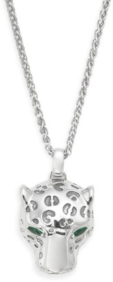 Effy 925 Sterling Silver Emerald Panther Pendant Necklace