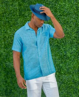 Cubavera Asymmetrical Miami Beach Embroidered Shirt