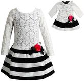Dollie & Me Cream & Black Dress & Doll Dress - Girls