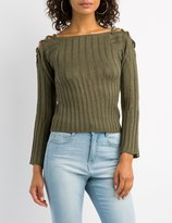 Charlotte Russe Lattice-Detail Cropped Sweater