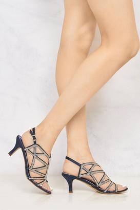 Miss Diva Minnie Diamante Crossover Straps Anklestrap Sandal in Navy