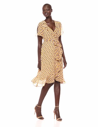 Donna Morgan Women's 3/4 Sleeve Wrap Dress