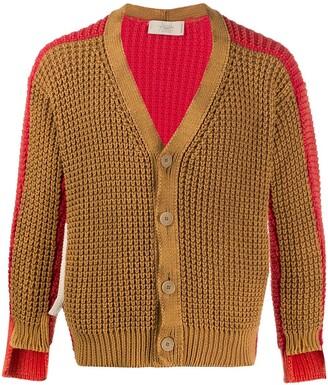 Maison Flaneur Colour-Block Asymmetric Cardigan