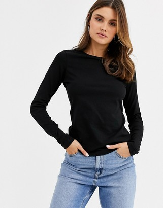 ASOS DESIGN ultimate organic cotton long sleeve crew neck t-shirt in black