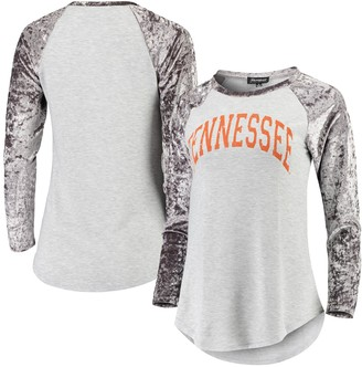 Women's Gray Tennessee Volunteers A Little Bit Softer Now Crushed Velvet Raglan Long Sleeve T-Shirt