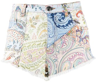 Etro Paisley Fitted Denim Shorts