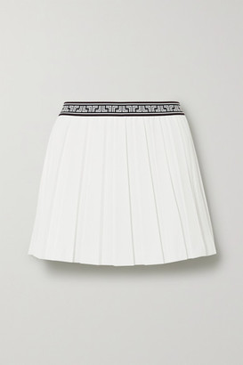 Tory Sport Jacquard-trimmed Pleated Crepe Mini Skirt - White
