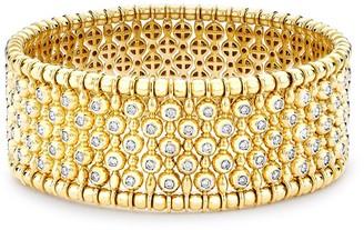 Pragnell 18kt Yellow Gold Diamond Wide Bangle