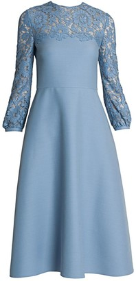 Valentino Virgin Wool & Silk Crepe Midi Dress