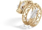 John Hardy Women's Legends Naga Coil Ring in 18K Gold with Pave White Diamond (0.19ct)