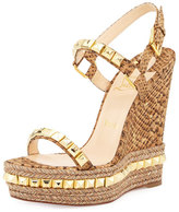 Christian Louboutin Cataclou Studded Cork Wedge Sandal, Gold