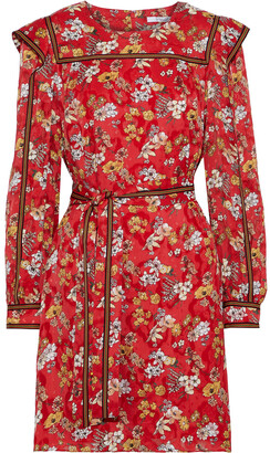 Derek Lam 10 Crosby Belted Floral-print Fil Coupe Silk-blend Mini Dress