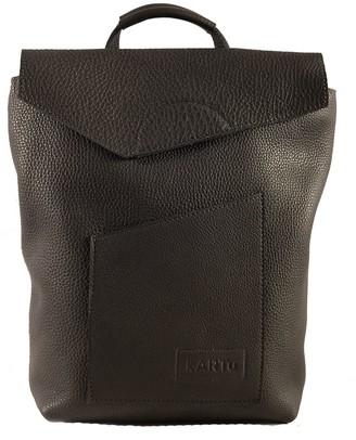"Kartu Studio Natural Leather Convertible Backpack/Handbag ""Cardamom"" Black"