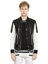 Balmain Two Tone Nappa Leather Bomber Jacket