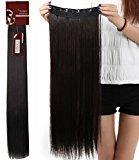 Haironline 30 Inch 3/4 Full Head Curly Straight Clips in on Synthetic Hair Extensions for Women 5 Clips