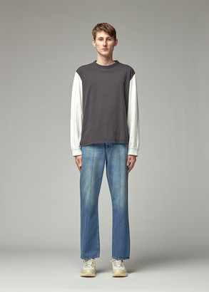 Our Legacy Men's Cuffed Long Sleeve T-Shirt in Black/White Size 46 100% Cotton