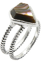 Calvary Sterling Silver and Abalone Double-Band Ring