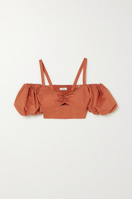 A.L.C. X Petra Flannery Melody Cold-shoulder Cropped Cotton-blend Poplin Top - Orange