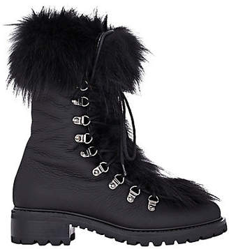 Barneys New York Women's M6 Fur-Trimmed Leather Ankle Boots - Black