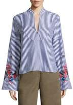 Tanya Taylor Klara Embroidered Striped Top