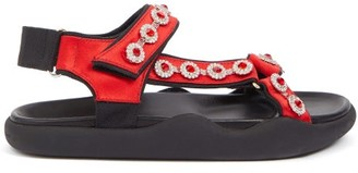 Christopher Kane Fussbett Crystal-embellished Satin Sandals - Red