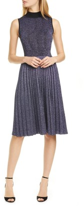 Kate Spade Pleated Metallic Sweater Dress