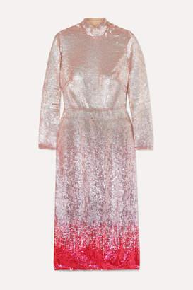 Temperley London Opia Open-back Degrade Sequined Crepe Midi Dress - Pink
