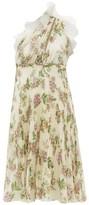 Giambattista Valli One-shoulder Floral-print Plisse Silk Dress - Womens - Ivory Multi