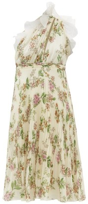 Giambattista Valli One-shoulder Floral-print Plisse Silk Dress - Ivory Multi