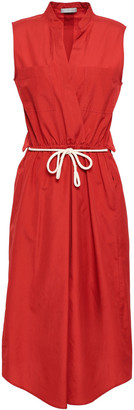 Vince Belted Cutout Cotton-poplin Midi Dress