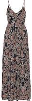 L'Agence Honore Smocked Printed Silk Maxi Dress