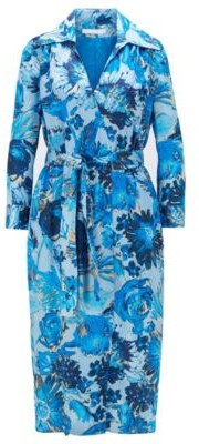 HUGO BOSS Monogram Shirt Dress In Pure Silk With Floral Print - Patterned
