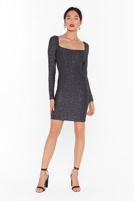 Nasty Gal Womens Onto a Shimmer Glitter Mini Dress - Black