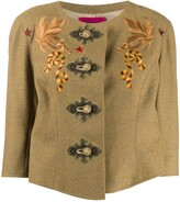 Chest Embroideries Collarless Jacket