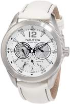 Nautica Men's Leather N14622G White Crocodile Leather Quartz Watch with Dial