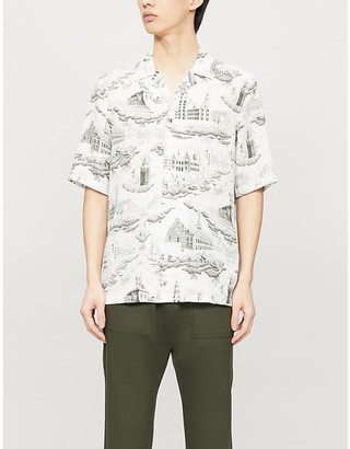 Samsoe & Samsoe Oscar graphic-print slim-fit stretch-jersey shirt