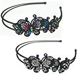 B.ella Set of 2 Butterfly Headbands Design of Two Butterflies Decorated with Sparkling Stones U86121-0234-2mc