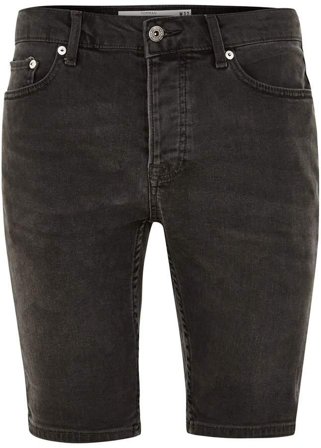 Topman Grey Denim Stretch Skinny Shorts