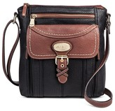 Bolo Women's Faux Leather Crossbody Handbag with Back/Back/Interior Compartments and Zipper Closure - Black/Walnut