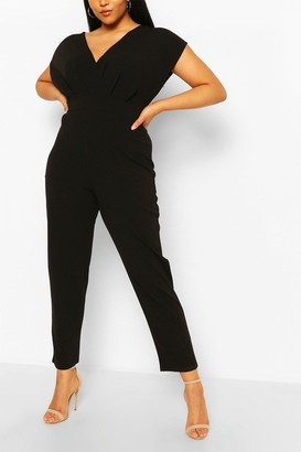 boohoo Plus Off The Shoulder Wrap Belted Jumpsuit