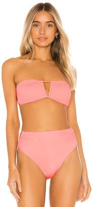 Tori Praver Swimwear Hadley Smocked Bandeau Bikini Top