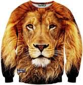 Pizoff Unisex Hipster Long Sleeve Crew Neck Lion Face 3D Graphic Print Black Sport Pullover Sweatshirts -M
