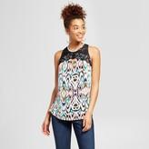3Hearts Women's Patterned Lace Yoke Sleeveless Top - 3Hearts (Juniors')