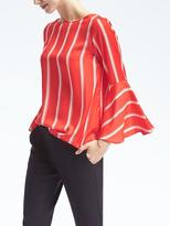 Banana Republic Stripe Fluted-Sleeve Top