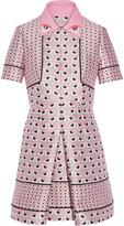 Fendi Leather-trimmed jacquard mini dress