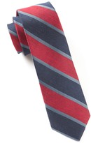 The Tie Bar Red Linen Bold Stripe Tie