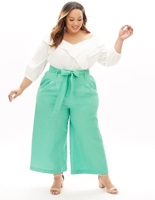 Lane Bryant Beauticurve Linen Wide Leg Pant With Belt