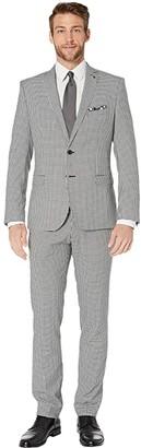 Nick Graham Gingham Plaid Suit (Black/White Gingham) Men's Suits Sets