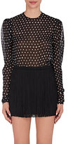Saint Laurent Women's Polka Dot Silk Blouse